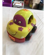 Toy Car With Flowers Yellow And Red Children Kids Automobile Vehicle - $4.26