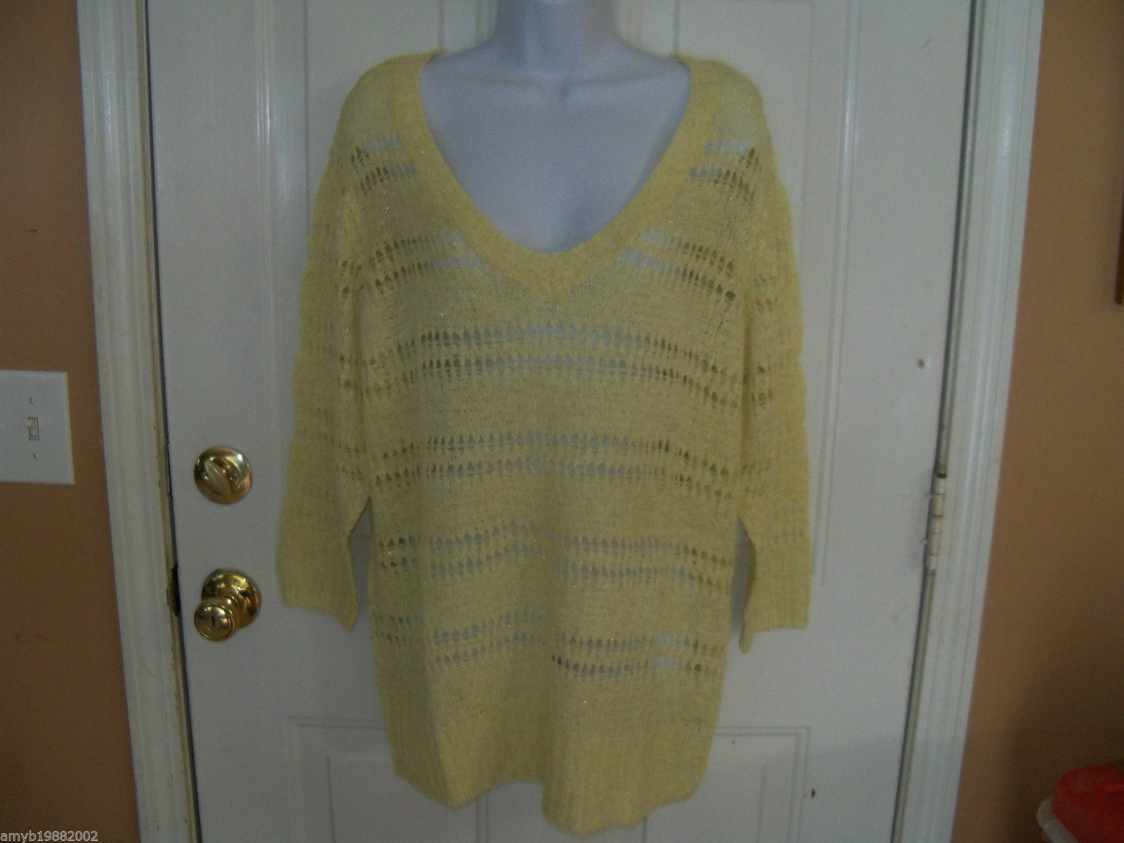 ELLE Lemon Open Stitch Sweater Size XL Women's NEW  HTF - $45.39