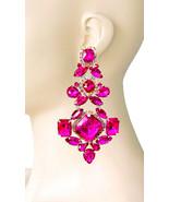 "4.75"" Long Fuchsia Hot Pink Rhinestones Oversized Clip On Earrings Drag Queen - $29.62"