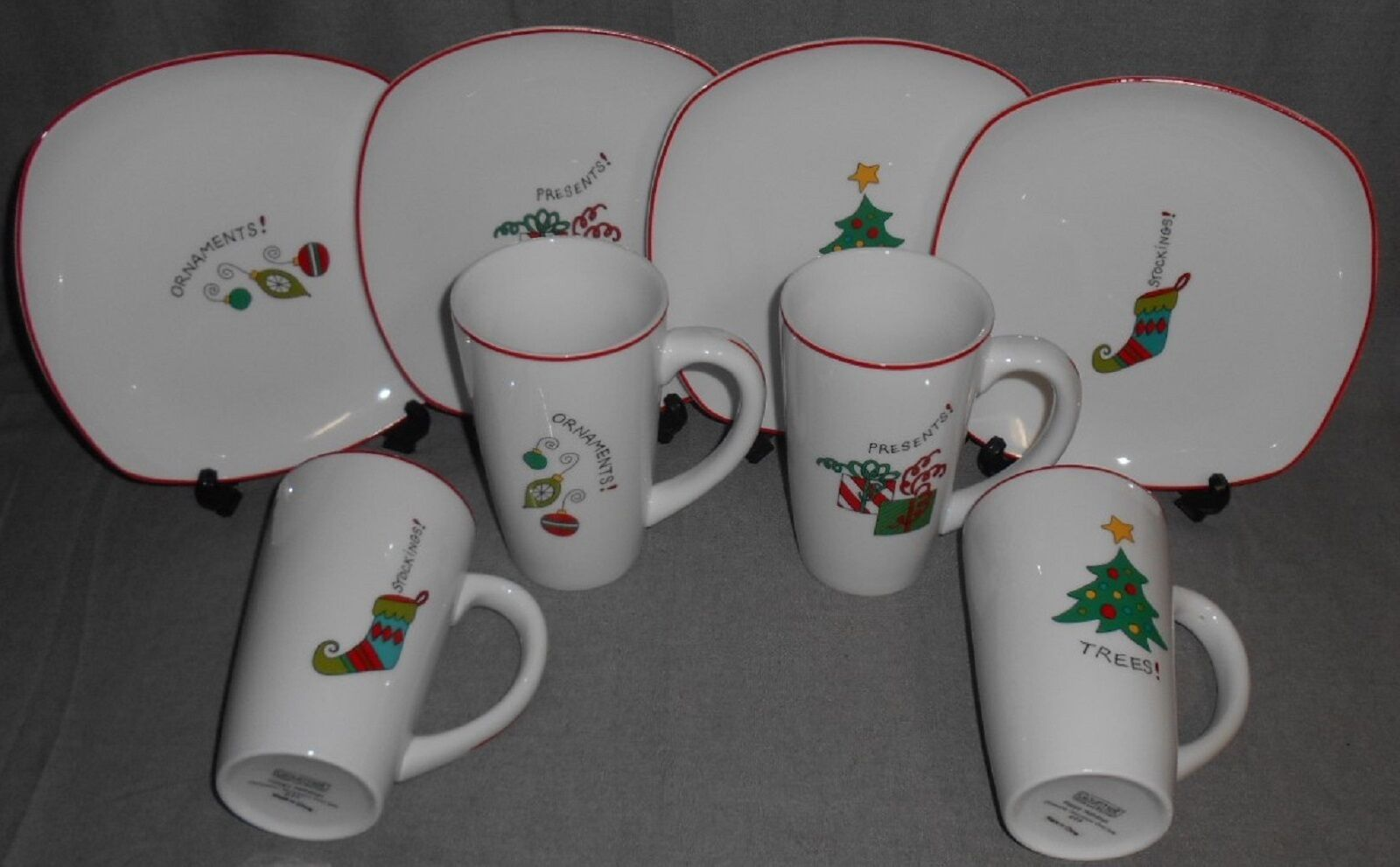 Primary image for MINT IN BOX 8 pc Set Fitz Floyd HAPPY HOLIDAYS Plates and Mugs CHRISTMAS