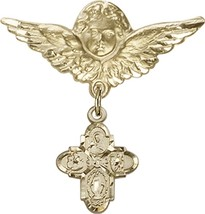 4-Way - Baby Badge and Angel with Wings Pin - Gold Filled