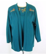 NWT BRECKENRIDGE Size 3X New Teal Knit Embroidered Tank Jacket Twinset - $39.00
