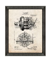 Rotary Engine Patent Print Old Look with Black Wood Frame - $24.95+