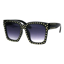 Super Oversized Sunglasses Womens Gold Studded Square Fashion Shades - $11.65
