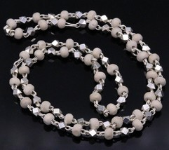 """SOLID SILVER BEADS AND BASIL ROSARY BEADS TULSI MALA 24"""" NECKLACE CHAIN ... - $49.49"""