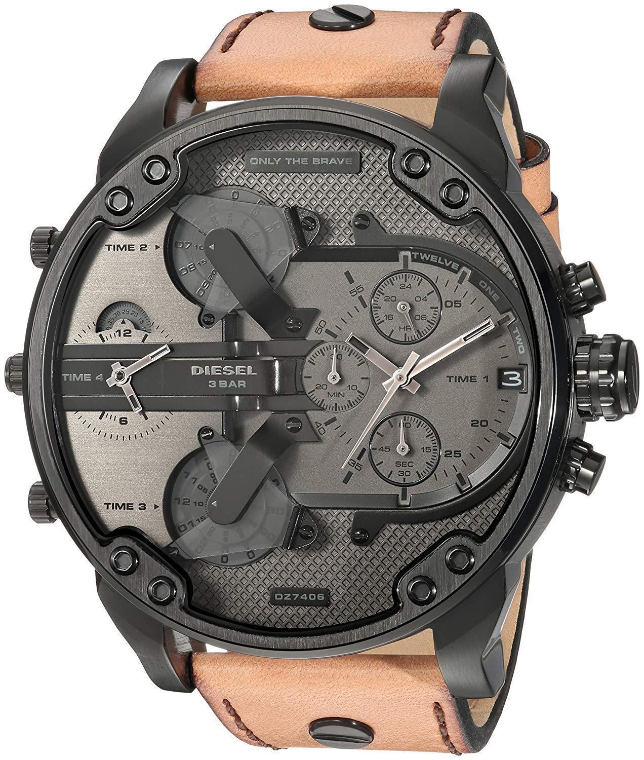 Primary image for Diesel DZ7406 Mr. Daddy 2.0 Chronograph Brown Leather Band Mens Watch
