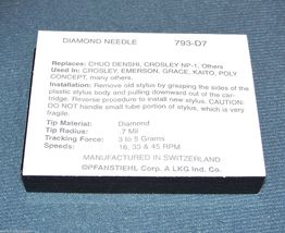 STEREO TURNTABLE STYLUS NEEDLE for Nostalgia Record Players Pfanstiehl 793-D7 image 3