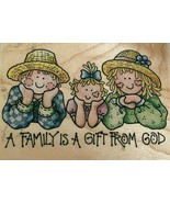 Rubber Stampede Stamp A Family is a Gift from God Straw Hats Religious C... - $4.00