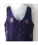 New batik purple sleeveless rayon medium dress ... - $15.00