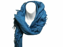 Gucci Double GG Fringed Extra Large Scarf Blue - $199.78