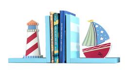 Creative Sailing Boat Lighthouse Bookend Racks Sets Bookshelf Display Or... - £43.02 GBP