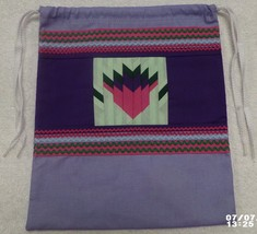 Native American Patchwork Thistle Blossom Pull String Bag Purse Handmade... - $35.00