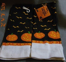 2 Halloween Bat and jack-o-lantern pumpkin Kitchen Dish Towels 15 x 25 i... - $5.99