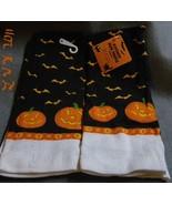 2 Halloween Bat and jack-o-lantern pumpkin Kitchen Dish Towels 15 x 25 i... - $5.99