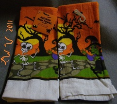 2 Halloween Witch and skeleton Orange White Kitchen Dish Towels 15 x 25 ... - $5.99