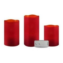 Flameless LED Candle Set & Remote Apothecary Holiday 3 Pc Red Cinnamon ... - $16.83