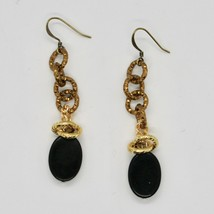 DROP EARRINGS ALUMINUM LAMINATED YELLOW GOLD WITH ONYX BLACK OVAL image 1