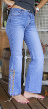 Arizona Jeans Flare Legs Whiskers Lace up size 16 Reg Embroidery Embellished VTG - $19.75