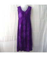 Long purple batik sleeveless dress with button-through front and Celtic ... - $11.25