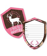 Pink Gone Hunting - Shaped Fill-in Invitations - Deer Hunting Girl Camo ... - $13.19
