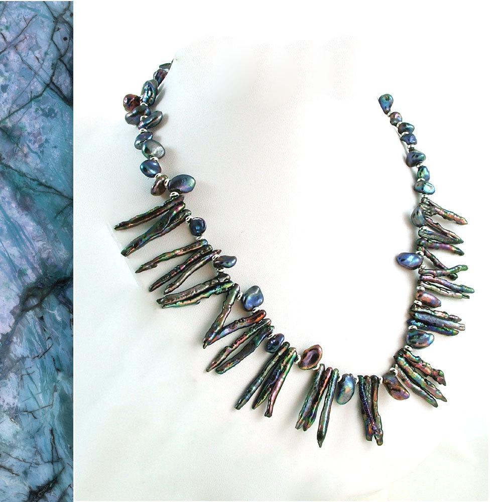 Peacock Biwa & Keishi Pearl Necklace