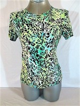 JM COLLECTION  WOMENS  P/S SHORT SLEEVE BLACK BLUE STRETCH TOP BLOUSE (J)M - $17.00