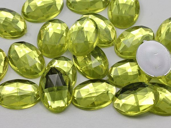 18x13mm Yellow Jonquil .JQ26 Flat Back Oval Acrylic Gemstones 35 PCS
