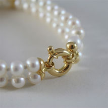 18K YELLOW GOLD BRACELET WITH TWO STRANDS WHITE FW PEARLS 7.08 IN MADE IN ITALY image 2