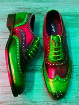 Red Green Multi Tone Brogues Toe Premium Leather Wing Tip Men Oxford Shoes - $139.99+
