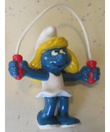Vintage SMURFS Smurf SMURFETTE Jumping jump rope mini PVC Figure toy - $13.99