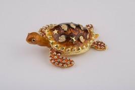 Turtle Faberge trinket box hand made by Keren Kopal w/ Austrian crystal - $56.70