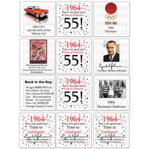 "Happy 55th Birthday (Age 55) ""1964"" Party Supplies FUN FACTS DRINK COASTERS - $10.99"