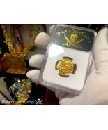COLOMBIA 2 ESCUDOS 1621-65 BRUTE STYLE NGC 55 PIRATE GOLD COINS TREASURE... - $2,650.00