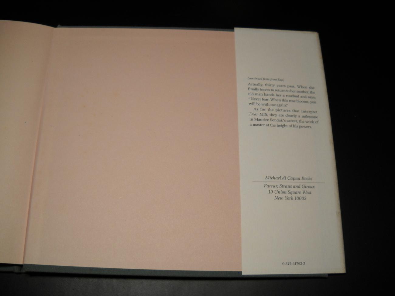 Dear Mili Wilhelm Grimm Maurice Sendak First Edition 1988 Hard Cover Dust Jacket