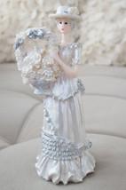 Southern Belle Bell Girl Figurine Flower Basket Silver White Home Decor - $9.99