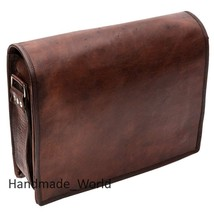 Retro Genuine Business Leather Messenger Bag for Laptop -  Brown medium Size - $64.34