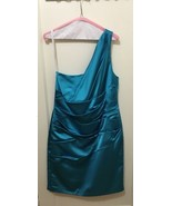 David's Bridal Short Sexy Dress | Blue | sz 14 One shoulder fitted Style - $37.39