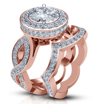 Round Cut White CZ Bridal Wedding Ring Set 14k Rose Gold Plated 925 Pure Silver - $130.20