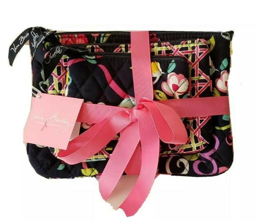 Vera Bradley Cosmetic Bag Trio Pink Ribbons NWT - $29.00