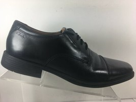 Clarks Mens Sz 10 M Cap Toe Oxford Dress Shoe Black Leather Ortholite Comfort - $42.87