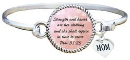 Mother's Day Gift Christian Scripture Cuff Bracelet Prv 31:25 Strength & Honor - $12.88