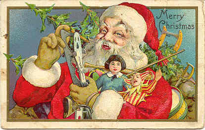 Santa Bringing Gifts 1916 Vintage Post Card Bonanza