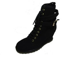 BE&D by Maison Dumain London Black Wedge Ankle High Women Laced Shoe - $54.44