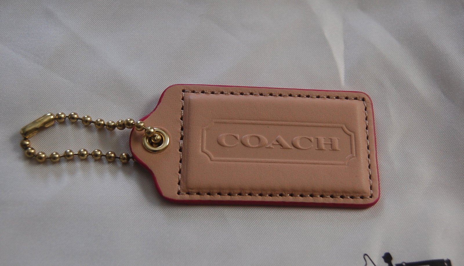 COACH Large Vachetta Leather Hangtag with Fuchsia Edging ~NEW~