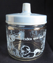 1950s Retro Blue Infant Round the Clock with Baby Cotton Ball Q Tip Jar ... - $8.73