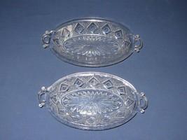 2 Grand Diamond Medallion 2 Handle Oval Celery Serving Dish Vtg Clear Glass - $19.79