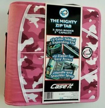 "Case It The Mighty Zip Tab 3 Ring Binder 3"" Handle Shoulder Strap Pink C... - $34.53"