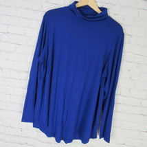 JM Collection Shirt Top Womens 1X Blue Sapphire Turtleneck Long Sleeves - $15.61