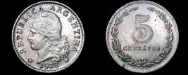 1938 Argentina 5 Centavo World Coin - $9.99