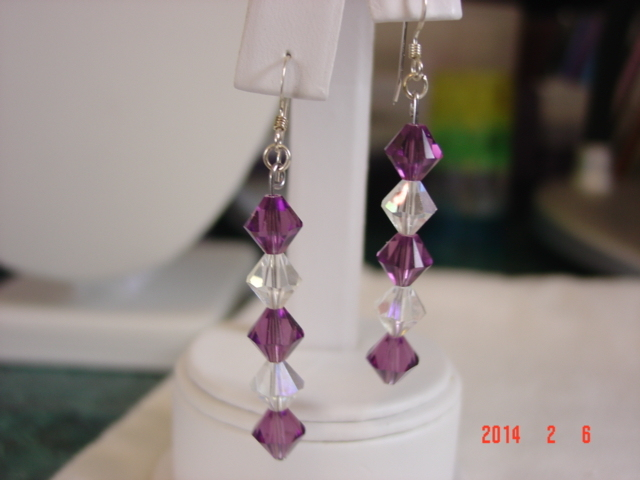 Amethyst & Clear Iridescent Swarovski Crystal Dangle Earrings - Free Shipping
